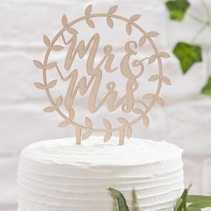 Mr and Mrs Cake Topper i trä