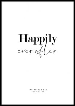 Personlig poster med texten Happily ever after